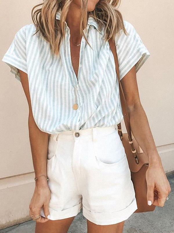 Loose Women Turn down Collar Stripe Summer Blouses