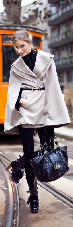 Love absolutely EVERYTHING about this look…cape, bag, shoes, I NEED this in my…