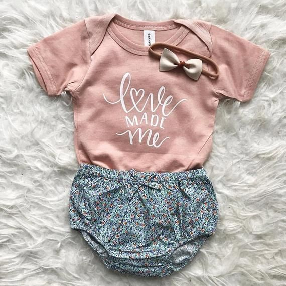 Love made me. >> Onesie is peach in color. Fits true to size. >> HANDMADE + CARE