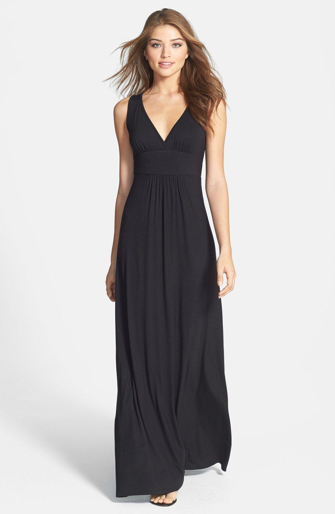 Loveappella V-Neck Jersey Maxi Dress (Regular & Petite