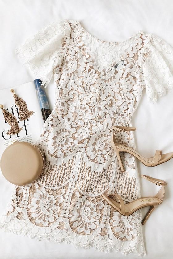 Lovely White Dress – Lace Dress – Short Sleeve Dress – Sheath