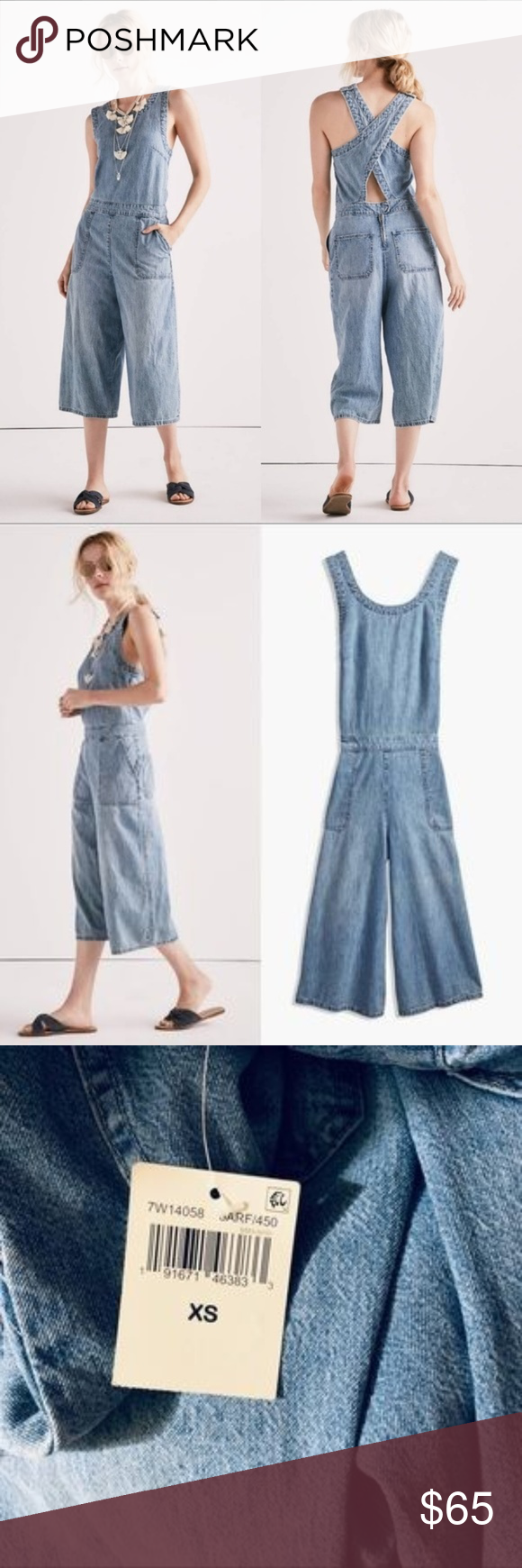Lucky Brand Cotton Denim Culotte Overall size XS Lucky Brand Cotton Denim Culott…