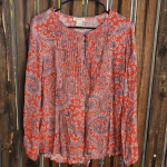 Lucky Brand Pleated Paisley BoHo Peasant Top L Dope paisley print peasant style ...