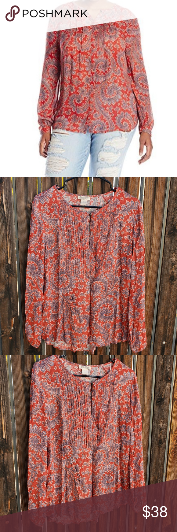 Lucky Brand Pleated Paisley BoHo Peasant Top L Dope paisley print peasant style …