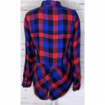 Lucky Brand | Red Blue Hilo Checkered Plaid Blouse Beautiful high low red blue c...