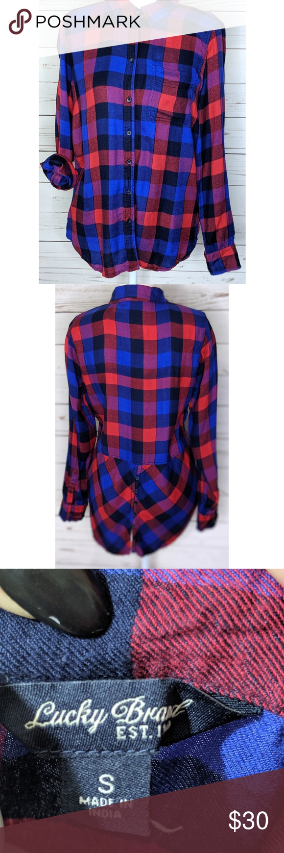 Lucky Brand | Red Blue Hilo Checkered Plaid Blouse Beautiful high low red blue c…