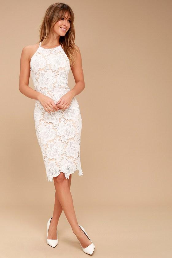 Lulus | Temps De L'Amour White Lace Bodycon Midi Dress | Size Small | 100% Polyester