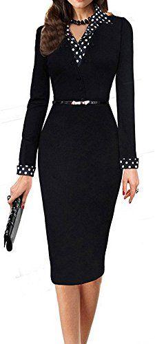 LunaJany Women's Polka Dot Long Short Sleeve Wear to Work Office Pencil Dress #f…