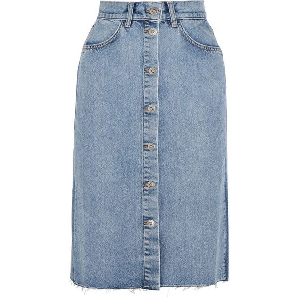 M.i.h JeansPark Denim Midi Skirt (€245) ❤ liked on Polyvore featuring skirts…