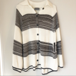 MICHAEL STARS Collar Cape Knit Poncho Soft and trending colorblock stripes detai...
