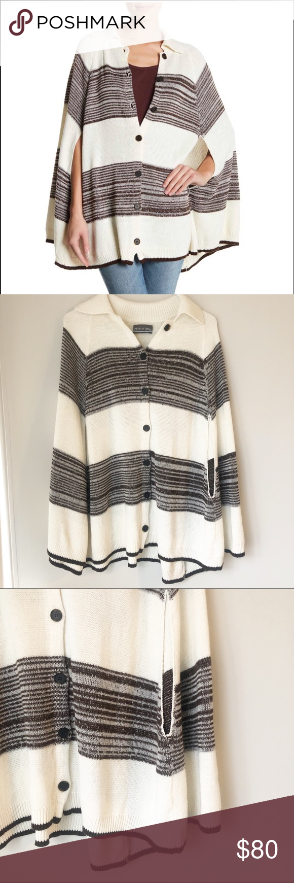 MICHAEL STARS Collar Cape Knit Poncho Soft and trending colorblock stripes detai…