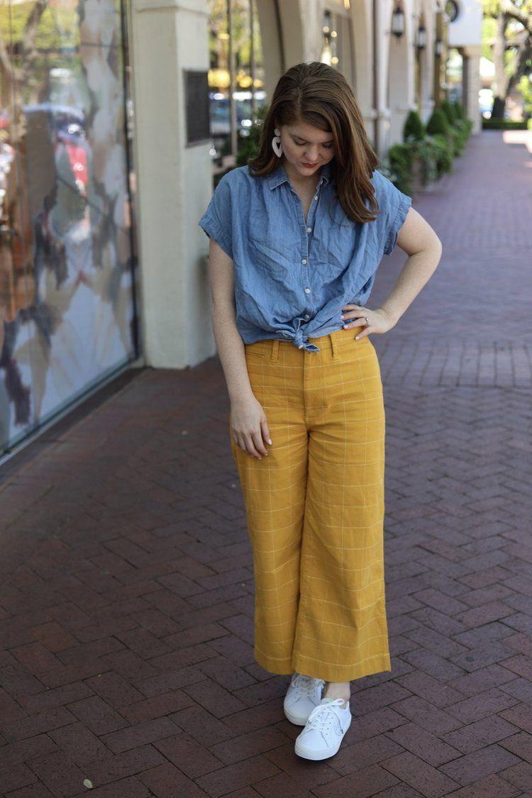 Madewell Emmett Windowpane Crop Wide Leg Pants, the art of versatility, yellow p…