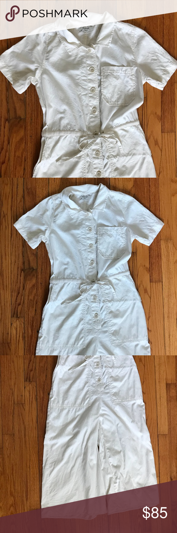 Madewell Utility Jumpsuit White utility jumpsuit from Madewell. Only worn once! …