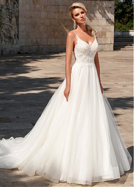 Magbridal Chic Tulle Spaghetti Straps Neckline A-line Wedding Dress With Beadings & Lace Appliqes