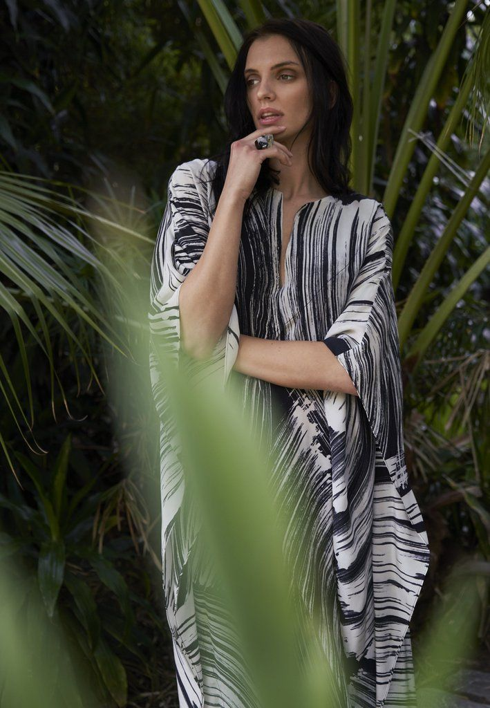 Malaysia Collection:  Monsoon Print Long Silk Caftan – 12 Made