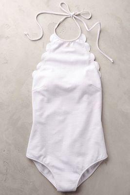 Marysia Scalloped One-Piece White L Swimwear