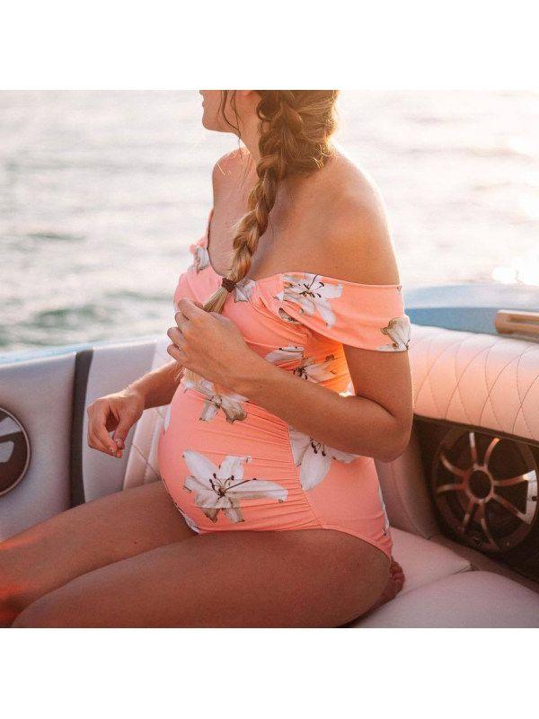 Maternity Off Shoulder Bathing Suits Swimwear – Lukalula.com