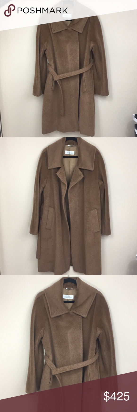 MaxMara Wool & Alpaca Cozy Belted Camel Coat MaxMara. Camel/brown color wool and…