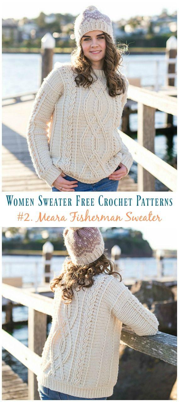 Meara Fisherman Cabled Sweater Crochet Free Pattern – Fall Winter Women Sweater