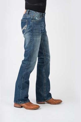 Men's Jeans Blue V Shape Heavy Emb Back Pocket Stetson Men's Jean- 1014 Fit