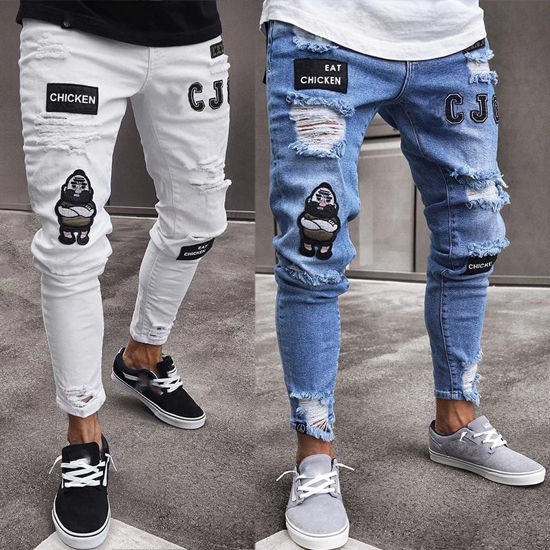 Men Stylish Ripped Biker Skinny Slim Straight Frayed Jean