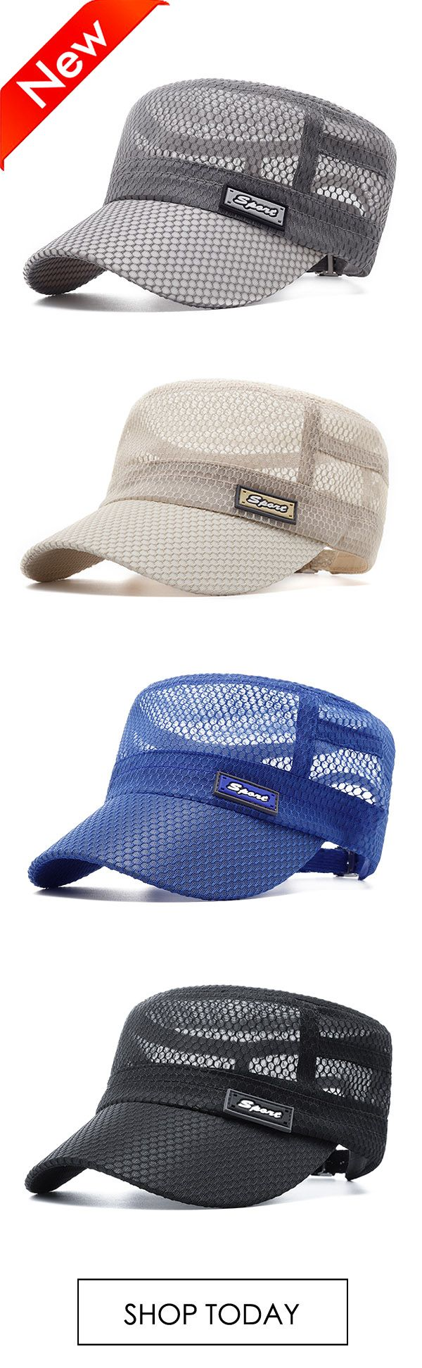 Men Summer Outdoor Mesh Breathable Flat Hat Quick-Drying Casual Sunscreen Visor …