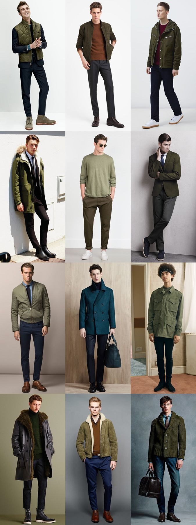 Men's 2015 Autumn/Winter Fashion Trend Preview: Subdued/Military Green Clothing …