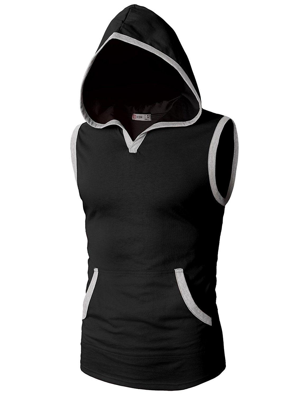 Men's Clothing, T-Shirts & Tanks, Tank Tops,Men's Workout Hooded Tank Tops Sleev…