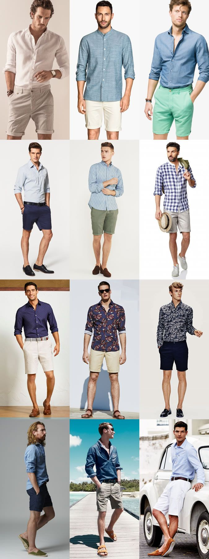 Men's Go-To Smart-Casual Summer Outfit Combinations: Long-Sleeved Shirt And Shor…