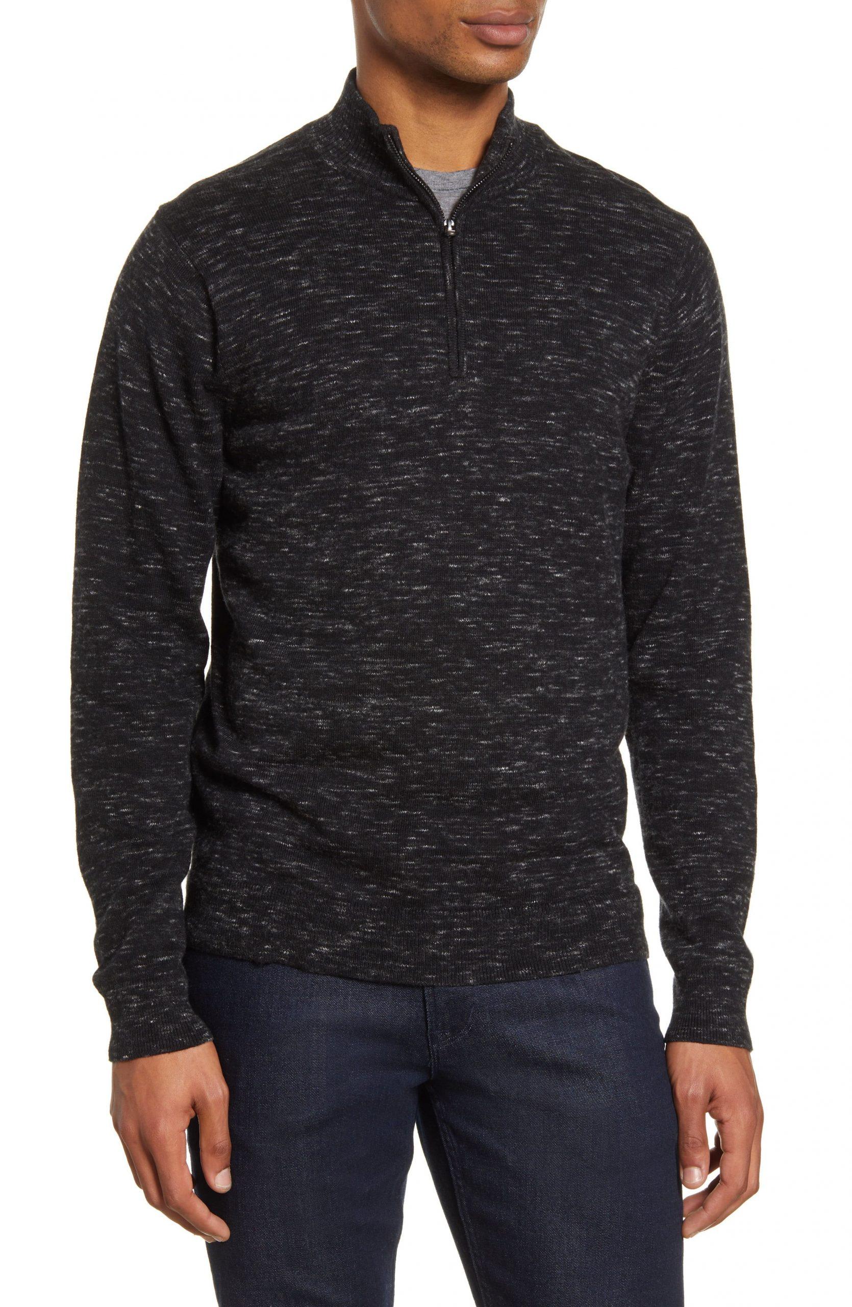 Men's Nordstrom Men's Shop Quarter Zip Cotton & Cashmere Pullover, Size Medium – Black