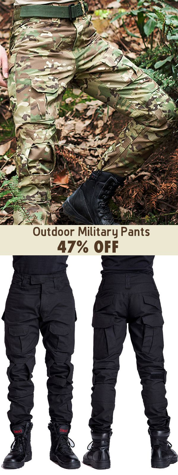 Mens Outdoor Military Tactical pants Camo Printing Breathable Wear-resistant Cas…