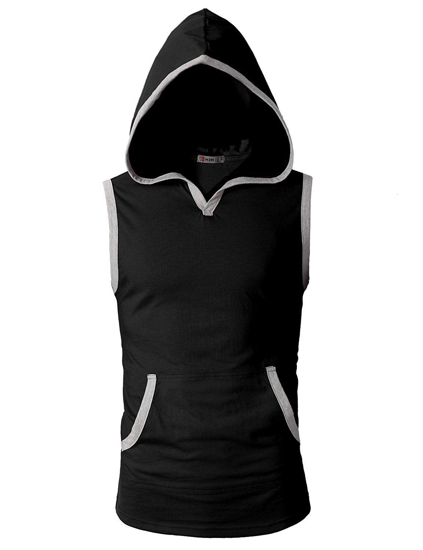 Men's Workout Hooded Tank Tops Sleeveless Gym Shirts With Kangaroo Pockets – Cmttk015-black – CQ12G5P9C9P