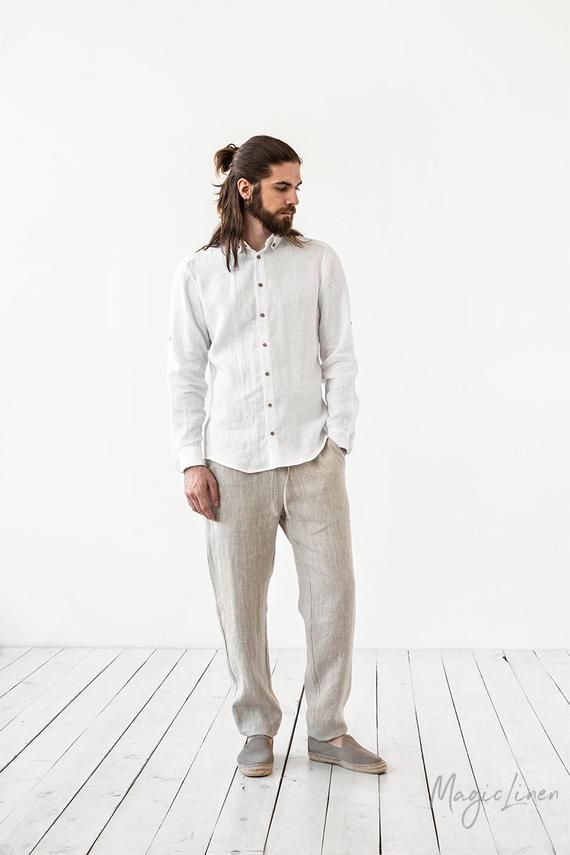 Men's linen pants PALERMO. Linen trousers for men. Lightweight linen pants for summer. Linen clothin