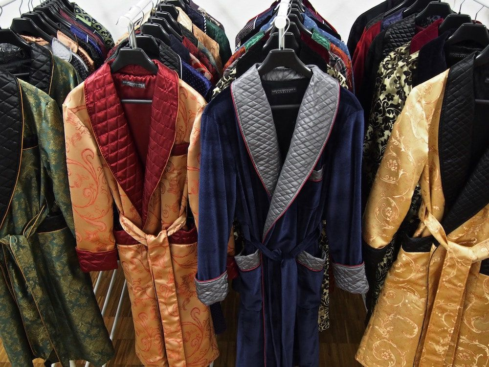 Mens luxury paisley silk robe quilted dressing gown velvet smoking jacket