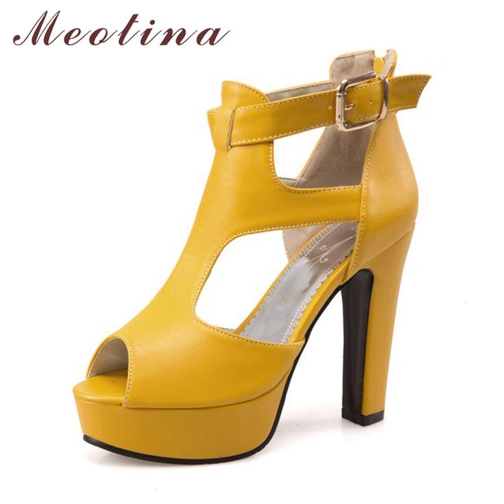 Meotina Gladiator Shoes High Heel Sandals Spring Summer Peep Toe T-Strap Platform Spike Heels Zip Yellow Size 12 46 Rome Shoes