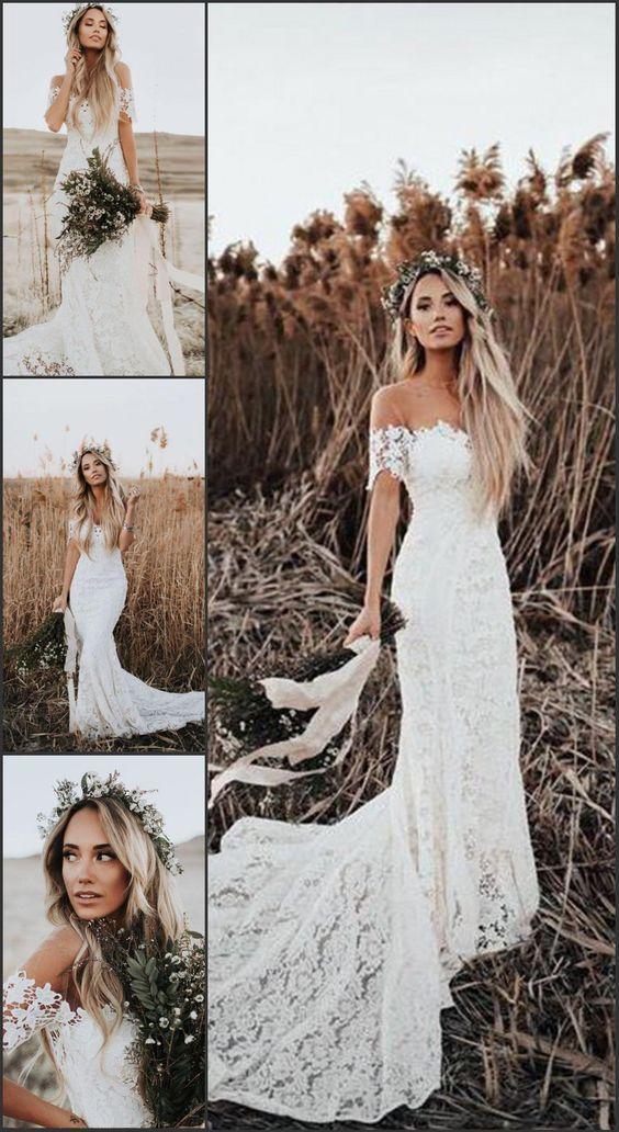 Mermaid Off the Shoulder Short Sleeves Lace Beach Boho Wedding Dress