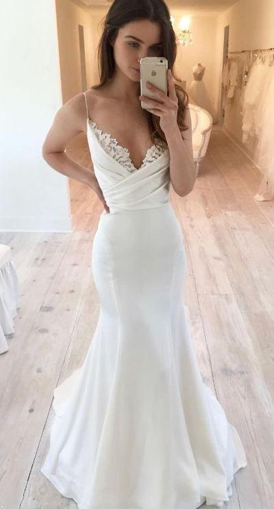 Mermaid Spaghetti Straps Wedding Dress from Sancta Sophia