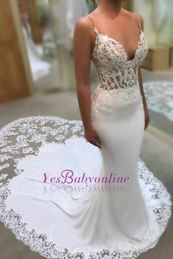 Mermaid Sweetheart Spaghetti Straps Wedding Dresses | Lace Appliques Wedding Gowns with Court Train