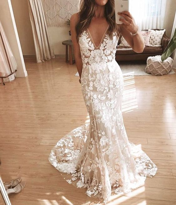 Mermaid V Neck Open Back Wedding Dresses, Sheath Long Wedding Gowns