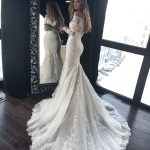 Mermaid wedding dress OB7962M by Olivia Bottega, memaid with lace and trail