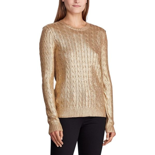 Metallic Cable-Knit Sweater