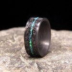 Meteorite Shavings with Centered Blue Green Lab Opal Inlay Carbon Fiber Wedding Band or Unique Gift Ring