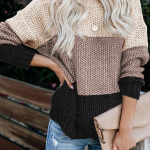 Miastylish Color Block Netted Texture Sweater