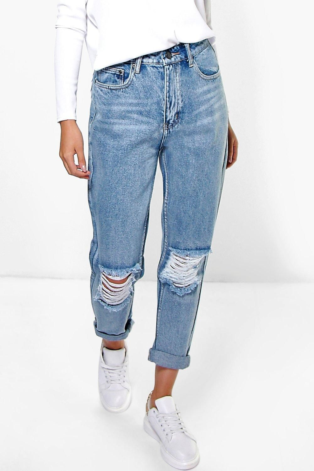 Mid Rise Light Blue Open Knee Boyfriend Jeans | Boohoo