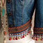 Mini irridescent/multi-colored tassels, embellished, BoHo Chic, Bohemian inspired, one of a kind, upcycled, eco-friendly denim jacket
