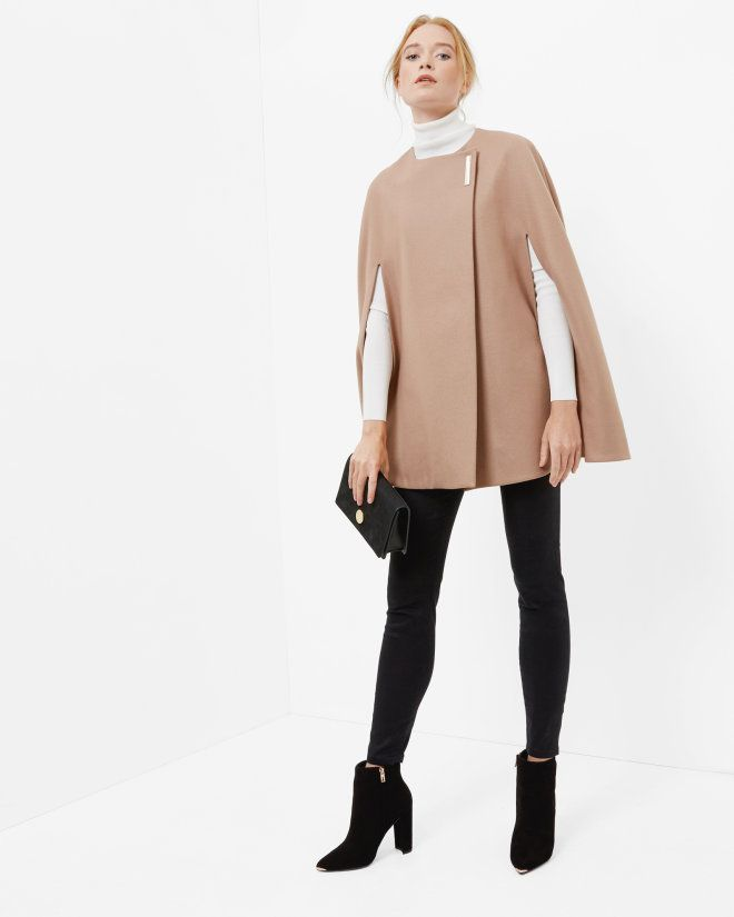 Minimalist metal clasp cape – Camel | Capes | Ted Baker