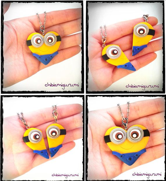 Minion heart charm chibi necklace in polymer clay from Despicable Me movie – BBF…