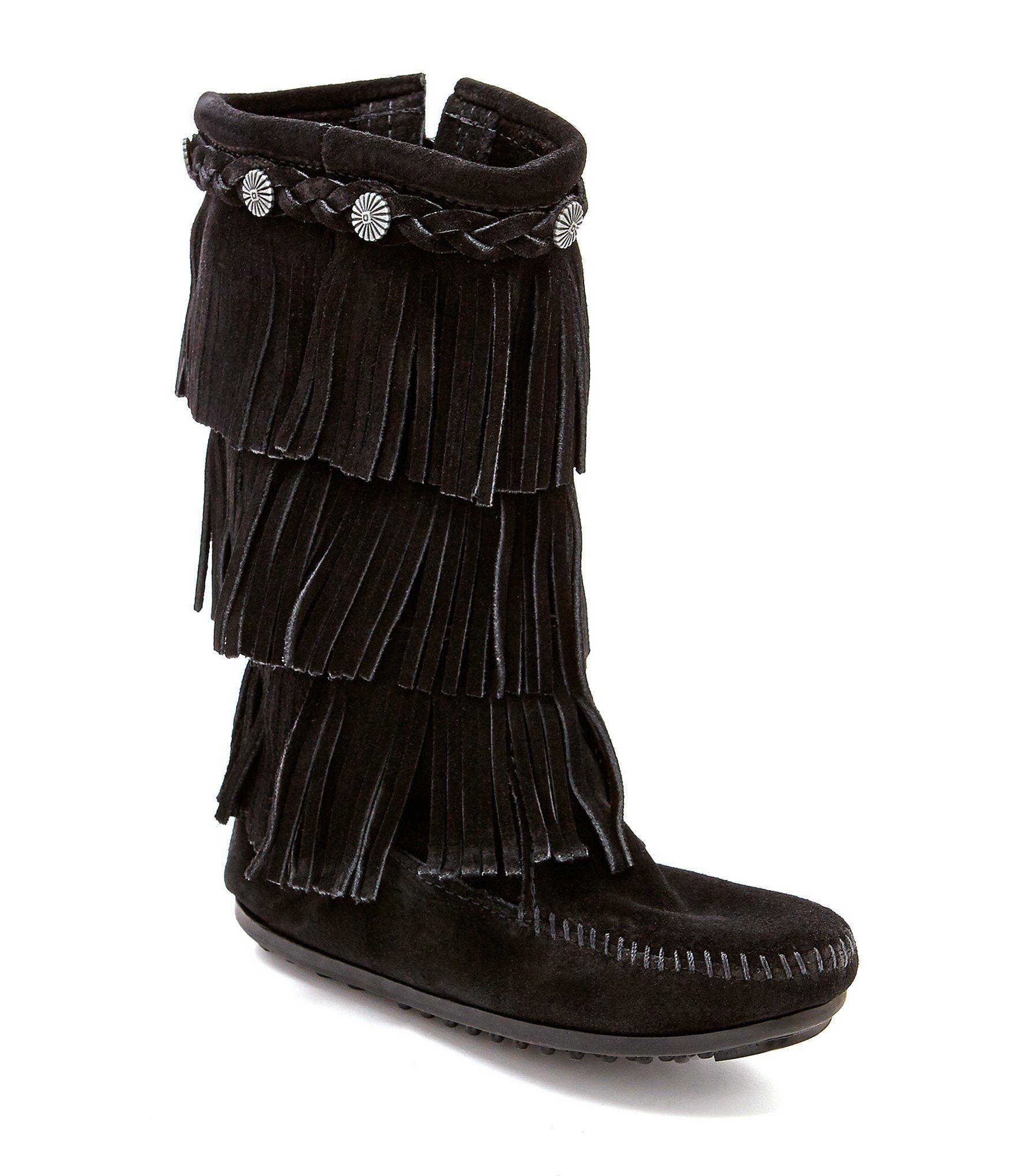 Minnetonka Girls' 3-Layer Fringe Stud Suede Boots – Black 8M Infant
