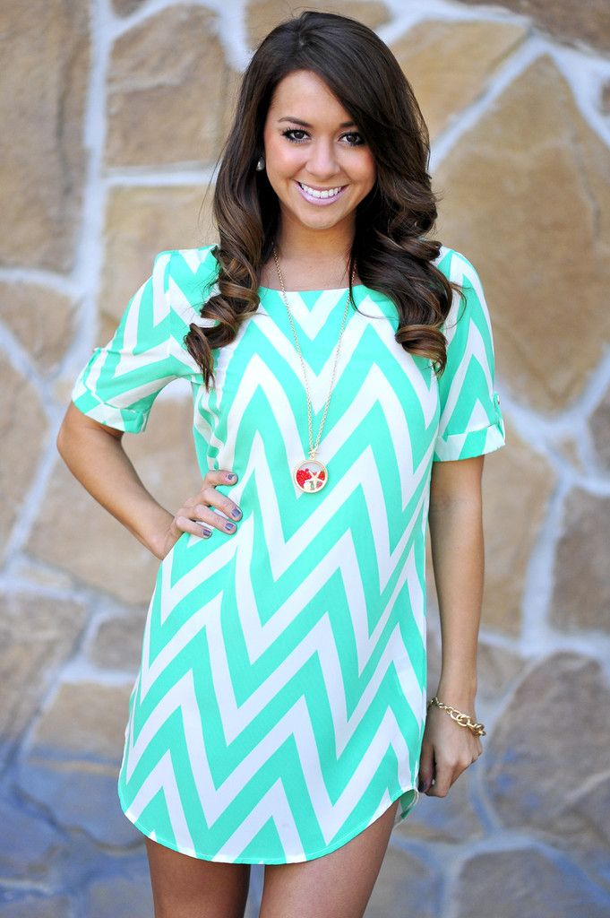 Mint and white chevron design for a summer dress. Cute clothes on this site!