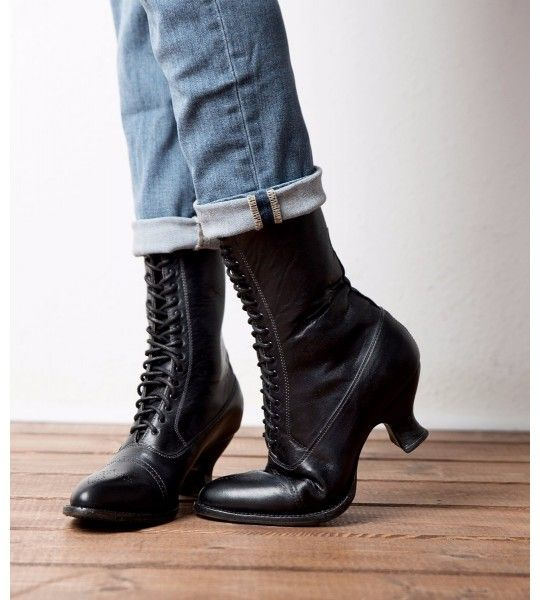 Mirabelle Victorian Mid-Calf Leather Boots in Black Rustic
